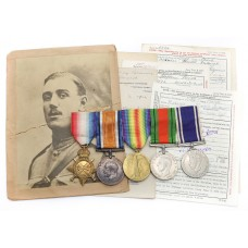 WW1 1914-15 Star Medal Trio, WW2 Defence Medal & George VI Police Long Service & Good Conduct Medal Group of Five - Cpl. H.F. Doswell, 22nd London Regiment & Military Foot Police