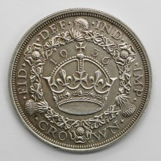 Scarce 1936 George V Silver Crown Coin (Fourth Coinage, Wreath Type)