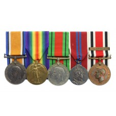 WW1 British War Medal, Victory Medal, WW2 Defence Medal, 1953 Coronation Medal & Special Constabulary Long Service Medal Group of Five - Pte. I.W. Walton, Northumberland Fusiliers