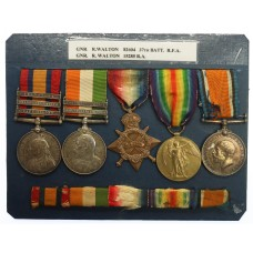 QSA (Clasps - Cape Colony, Orange Free State, Transvaal), KSA (Clasps - South Africa 1901, South Africa 1902), 1914-15 Star, British War & Victory Medal Group of Five - Gnr. R. Walton, Royal Artillery