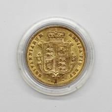 1869 Victoria 22ct Gold Shield Back Half Sovereign Coin (Die No. 17)