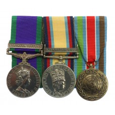 Campaign Service Medal (Clasp - Northern Ireland), Gulf Medal (Clasp - 16 Jan to 28 Feb 1991) and UN Bosnia (UNPROFOR) Medal Group of Three - L.Cpl. J.D. Bain, 1st Bn. Royal Highland Fusiliers