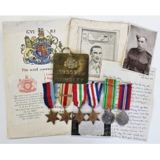 WW2 Casualty Medal Group of Six with Ephemera - Sjt. G.F. Cumbley, 1/7th Queen's (Royal West Surrey) Regiment - K.I.A.
