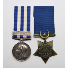 Egypt Medal (Clasp - Tel-El-Kebir) and 1882 Khedives Star - J. Becconsall, A.B., Royal Navy, H.M.S. Orion