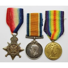 WW1 1914 Mons Star Medal Trio - Pte. G.W. Cunningham, 1st Bn. Lincolnshire Regiment - Wounded (Somme)