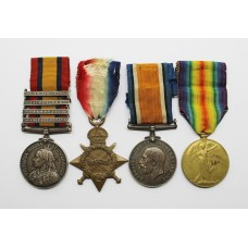 QSA (Clasps - Orange Free State, Transvaal, Laing's Nek, South Africa 1901) and WW1 1914-15 Star Medal Trio - Sjt. F. Swainton, Vol. Coy. West Yorkshire Regiment & West Riding Regiment