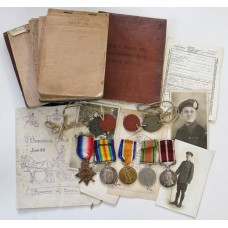 WW1 1914-15 Star Medal Trio, WW2 Defence Medal & George V Meritorious Service Medal with Dog Tags and Personal Diaries - Sjt. F. Stead, Army Service Corps