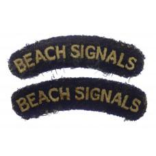 Scarce Pair of WW2 Beach Signals Cloth Shoulder Titles