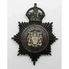 Wigan Borough Police Night Helmet Plate - King's Crown