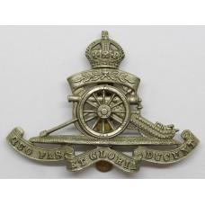 Royal Artillery Territorials 1908 White Metal Cap Badge - King's Crown