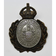Eastbourne County Borough Police Wreath Helmet Plate - King's Crown