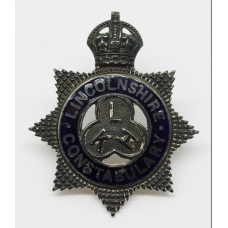 Lincolnshire Constabulary Senior Officer's Silver & Enamel Cap Badge - King's Crown