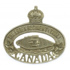Canadian The Essex Regiment (Tank) Cap Badge - King's Crown