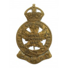 Canadian Royal Montreal Regiment Cap Badge - King's Crown