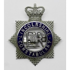 Lincolnshire Constabulary Senior Officer's Enamelled Cap Badge - Queen's Crown