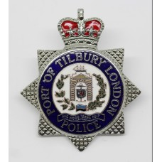 Port of Tilbury London Police Enamelled Cap Badge - Queen's Crown