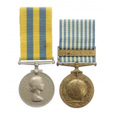 Queen's Korea and UN Korea Medal Pair - Tpr. J.T. Edwards, 5th Dr