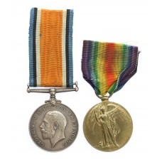 WW1 British War & Victory Medal Pair - Pte. T. Merrin, Middle