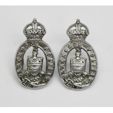 Pair of Blackpool Police Collar Badges - King's Crown