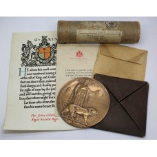 WW1 Memorial Plaque (Death Penny) and Scroll - Pte. J. Coleman, 9