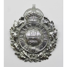 Dudley Borough Police Wreath Helmet Plate - King's Crown