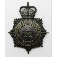 Manchester & Salford Police Night Helmet Plate - Queen's Crow