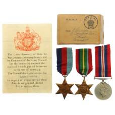 WW2 Casualty Medal Group of Three - L/Bdr. E. Garside, 85th Anti-Tank Regiment, Royal Artillery - K.I.A. (Malaya)