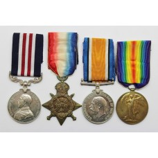 WW1 Military Medal, 1914 Mons Star, British War & Victory Medal Group of Four - Bmbr. E.W. Brown, Royal Artillery