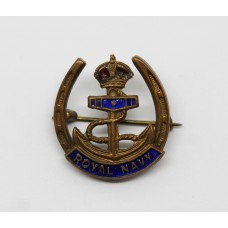 Royal Navy Enamelled Sweetheart Brooch - King's Crown