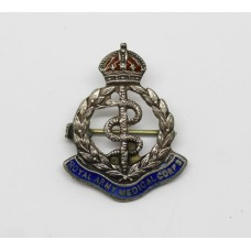 Royal Army Medical Corps (R.A.M.C.) Silver & Enamel Sweetheart Brooch - King's Crown