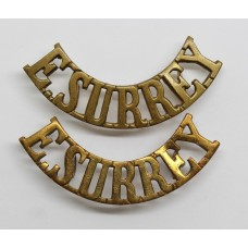 Pair of East Surrey Regiment (E.SURREY) Shoulder Titles
