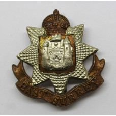 East Surrey Regiment Cap Badge - King's Crown
