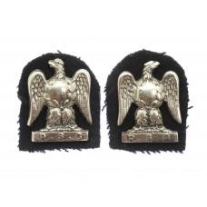 Pair of Royal Scots Greys Officer's Silvered Collar Badges