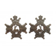 Pair of Notts & Derby Regiment (Sherwood Foresters) Officer's Service Dress Collar Badges - Queen's Crown