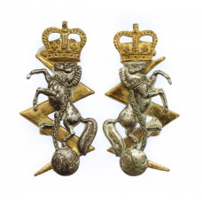 Pair of Royal Electrical & Mechanical Engineers (R.E.M.E.) Officer's Dress Collar Badges - Queen's Crown