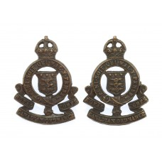 Pair of Royal Army Ordnance Corps (R.A.O.C.) Officer's Service Dress Collar Badges - King's Crown