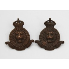 Pair of York Rangers Regiment of Canada Collar Badges - King's Crown