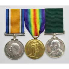 WW1 British War Medal, Victory Medal and Edward VII Volunteer Long Service & Good Conduct Medal - Pte. W. Edwards, 4th V.B. South Wales Borderers and King's (Liverpool) Regiment