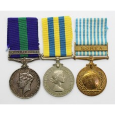 General Service Medal (Clasp - Palestine 1945-48), Queen's Korea Medal and UN Korea Medal Group of Three - Sgt. J. Willcock, Army Air Corps (4 Para) and King's (Liverpool) Regiment