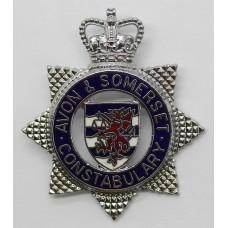 Avon & Somerset Constabulary Enamelled Cap Badge - Queen's Cr