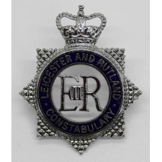 Leicestershire and Rutland Constabulary Senior Officer's Enamelled Cap Badge - Queen's Crown