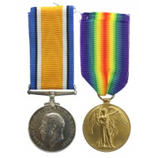 WW1 British War & Victory Medal Pair - Pte. J. Hyslop, 9th Bn