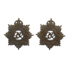 Pair of George VI Royal Army Service Corps (R.A.S.C.) Officer's Service Dress Collar Badges - King's Crown
