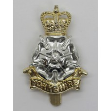 Yorkshire Brigade Anodised (Staybrite) Cap Badge - Queen's Crown