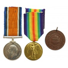 WW1 British War & Victory Medal Pair with East Ham Education