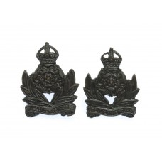 Pair of Intelligence Corps Officer's Service Dress Collar Badges - King's Crown