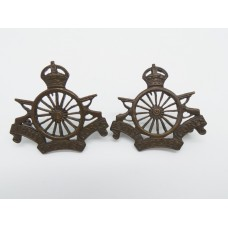 Pair of Army Cyclist Corps Officers Service Dress Collar Badges (16 Spokes)