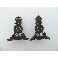 Pair of Pioneer Corps Officers Service Dress Collar Badges - King's Crown