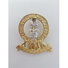 15th / 19th Hussars Anodised (Staybrite) Cap Badge - Queen's Crow