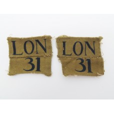 Pair of London Home Guard Printed Arm Badges Insignia (LON 31)